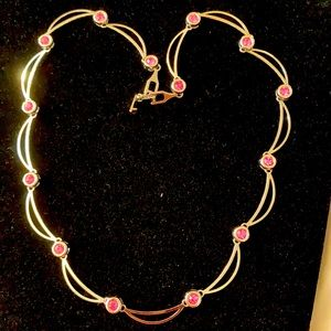 """Draping necklace with pink crystals silvertone 17"""""""